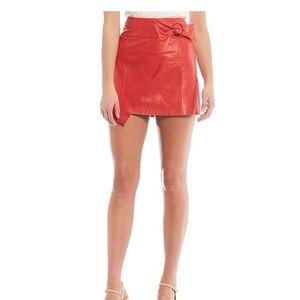 Gianni Bini Genuine Leather Patty Belt Wrap Skirt